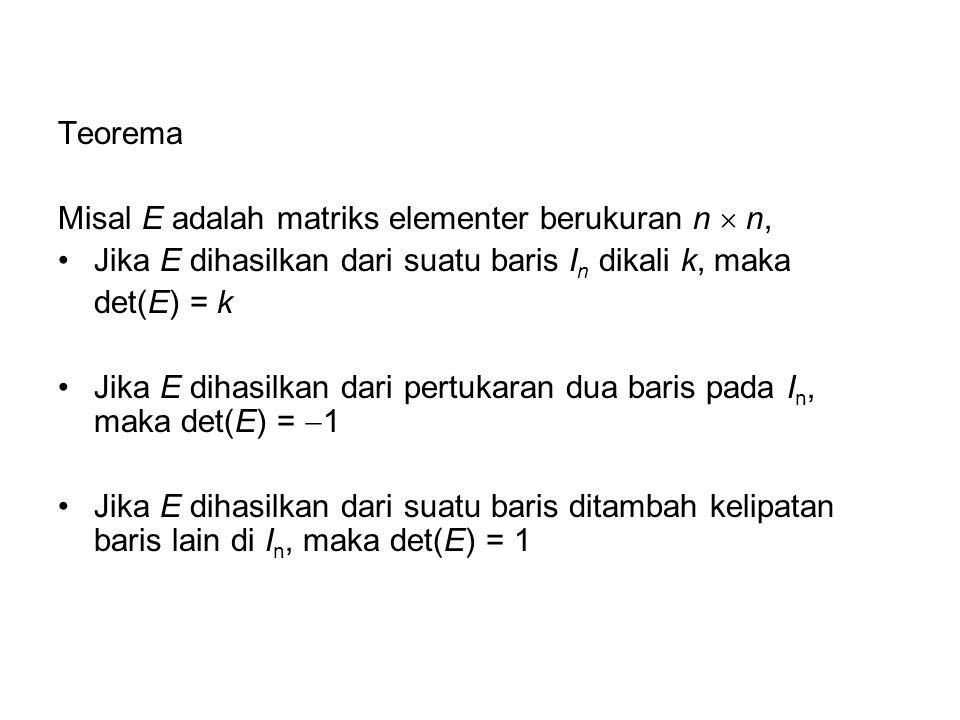 Teorema Misal E adalah matriks elementer berukuran n  n, Jika E dihasilkan dari suatu baris In dikali k, maka.
