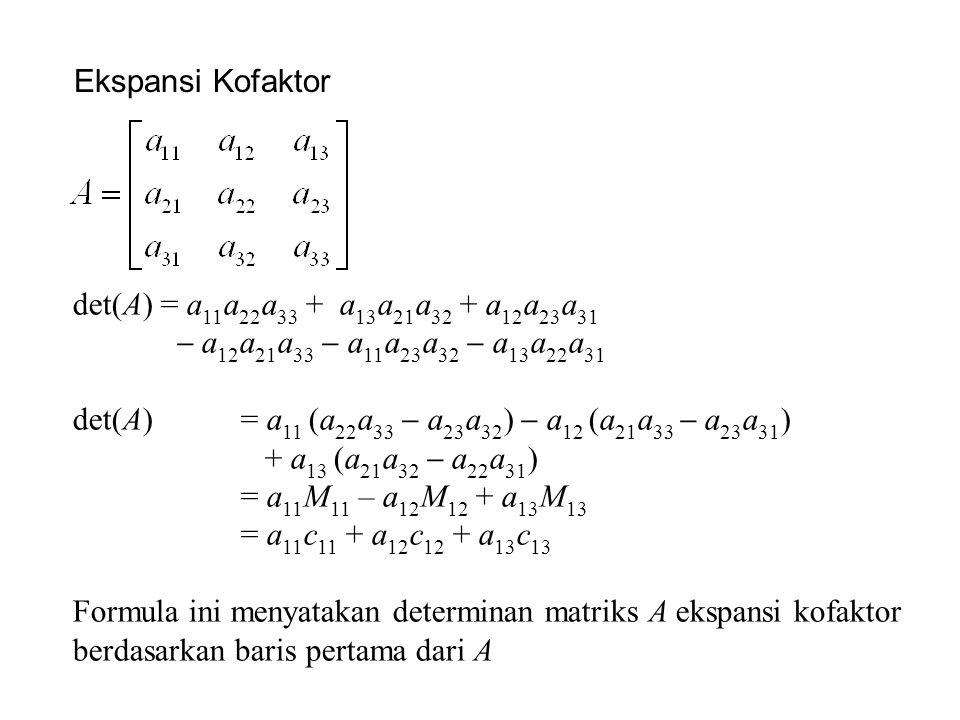 Ekspansi Kofaktor det(A) = a11a22a33 + a13a21a32 + a12a23a31.  a12a21a33  a11a23a32  a13a22a31.