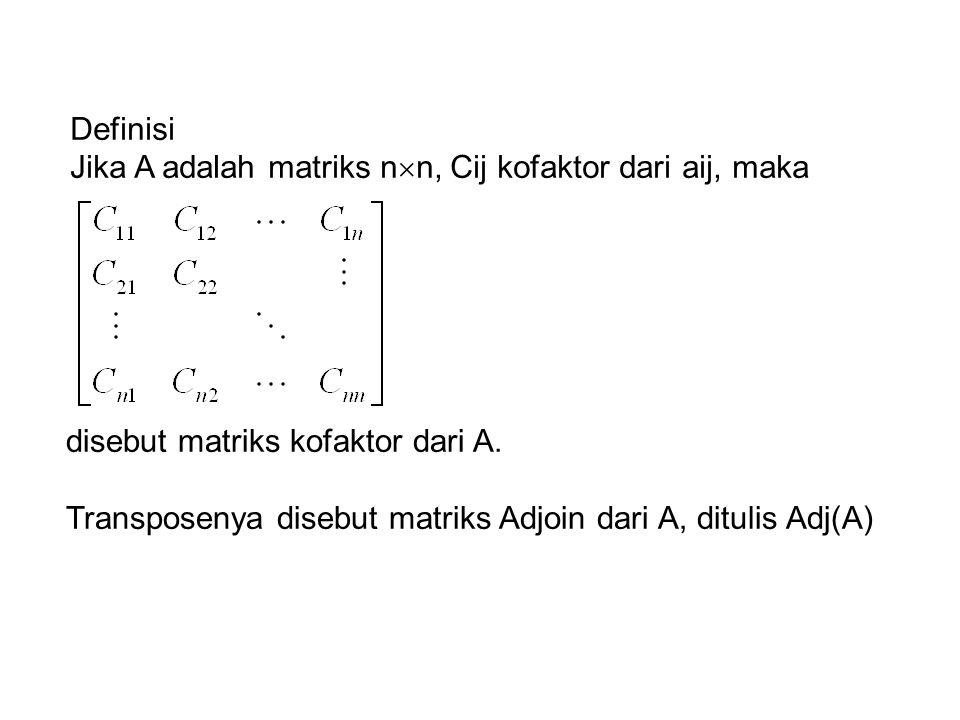 Definisi Jika A adalah matriks nn, Cij kofaktor dari aij, maka. disebut matriks kofaktor dari A.