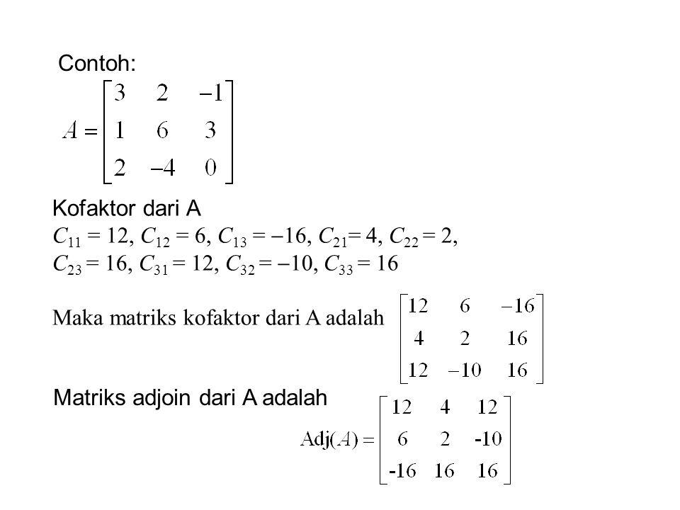 Contoh: Kofaktor dari A. C11 = 12, C12 = 6, C13 = 16, C21= 4, C22 = 2, C23 = 16, C31 = 12, C32 = 10, C33 = 16.