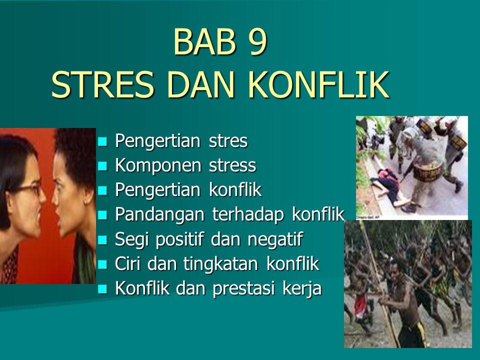 BAB 9 STRES DAN KONFLIK Pengertian stres Komponen stress