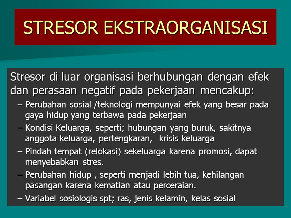 STRESOR EKSTRAORGANISASI