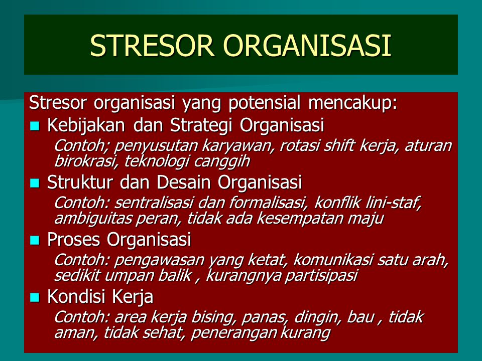 STRESOR ORGANISASI Stresor organisasi yang potensial mencakup: