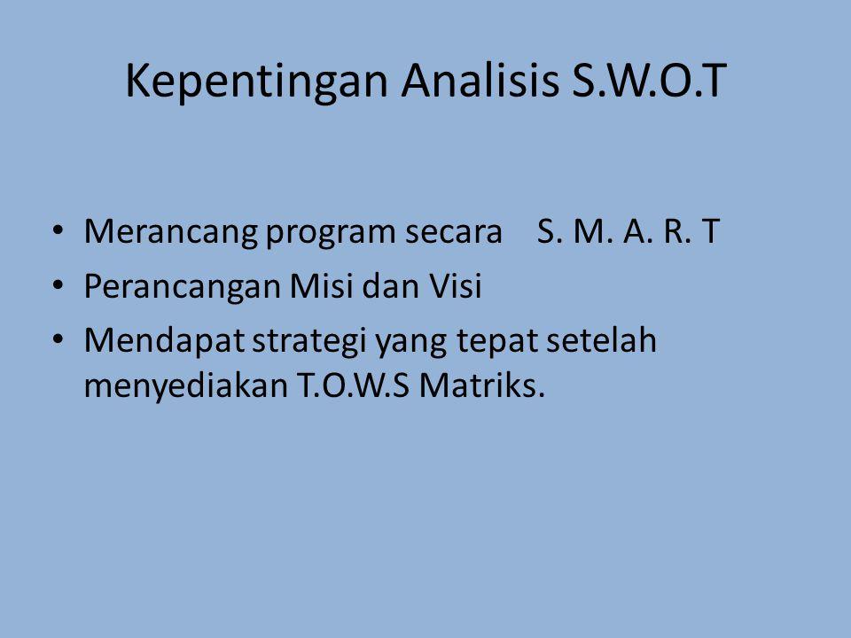 Kepentingan Analisis S.W.O.T
