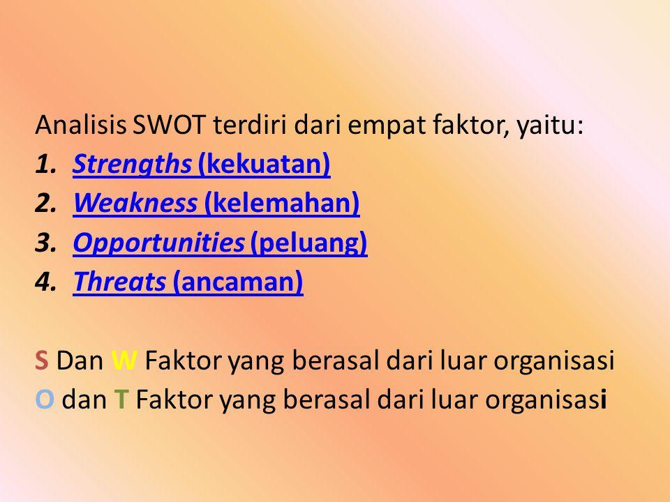 Analisis SWOT terdiri dari empat faktor, yaitu: