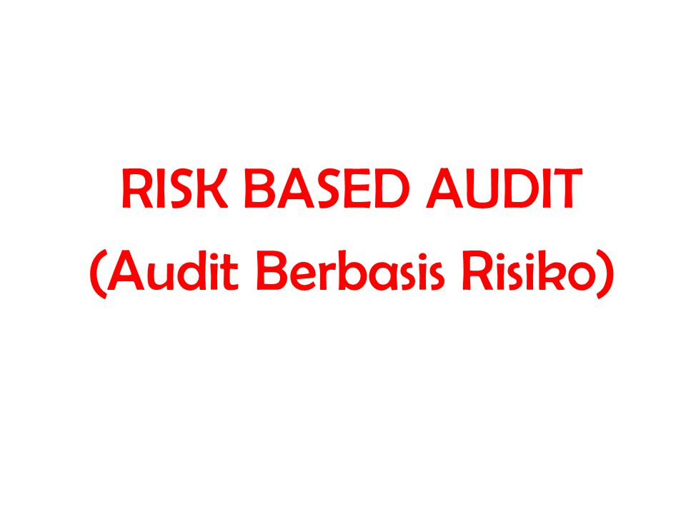RISK BASED AUDIT (Audit Berbasis Risiko)