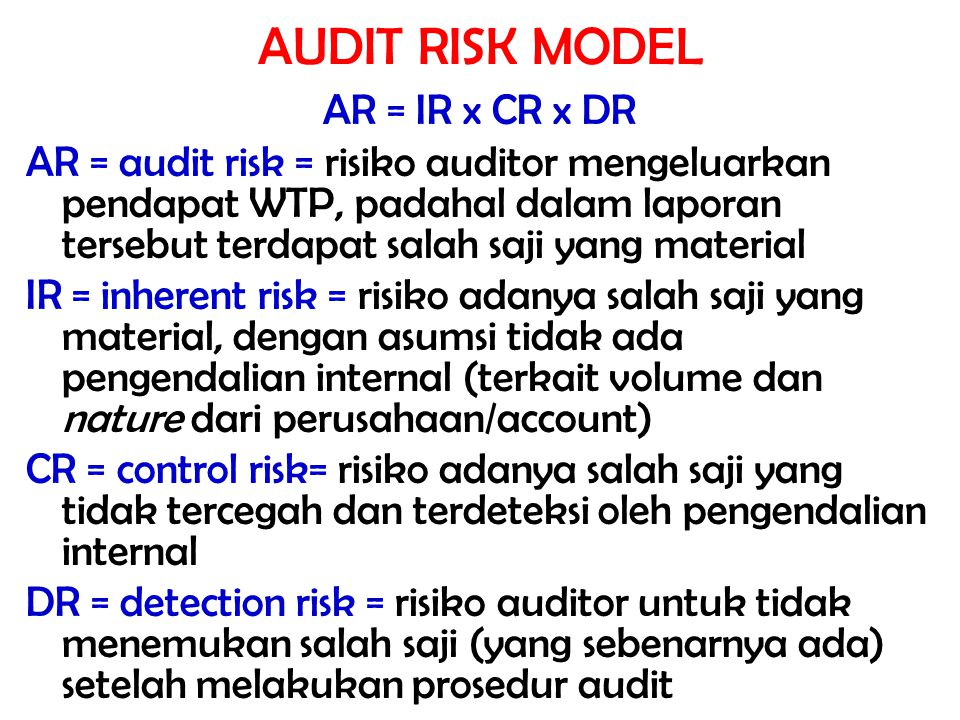 AUDIT RISK MODEL AR = IR x CR x DR