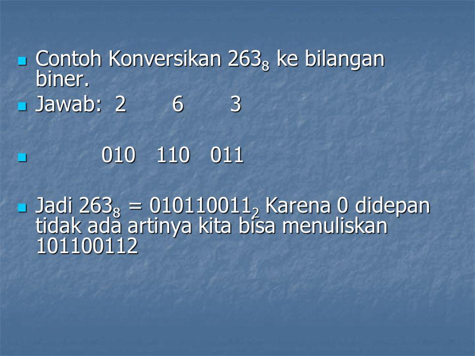 Contoh Konversikan 2638 ke bilangan biner.