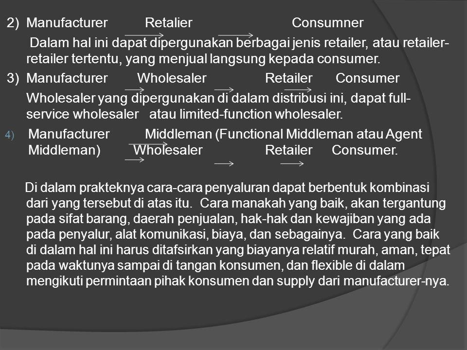 2) Manufacturer Retalier Consumner