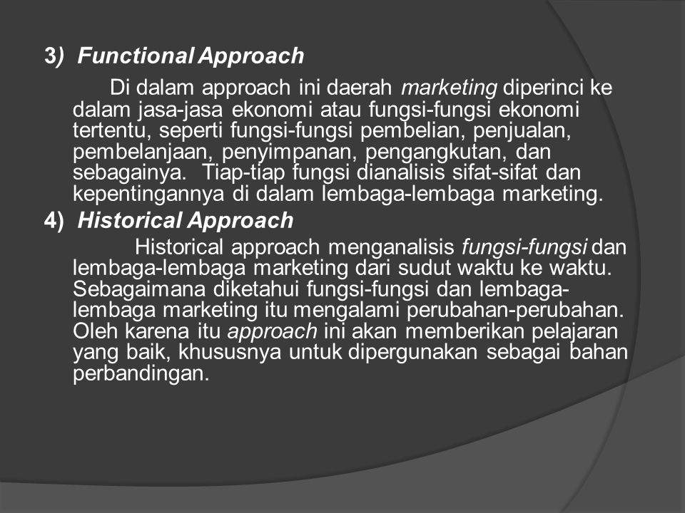 3) Functional Approach