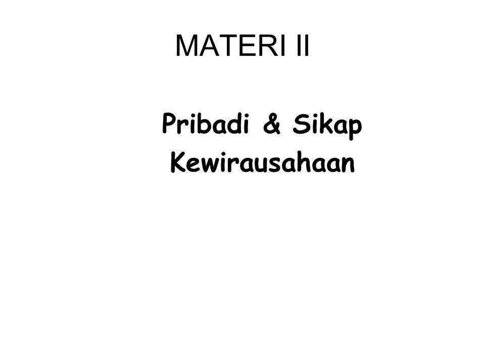 MATERI II Pribadi & Sikap Kewirausahaan
