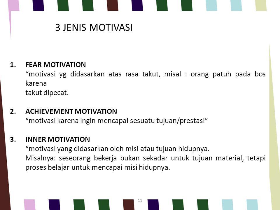 3 JENIS MOTIVASI FEAR MOTIVATION