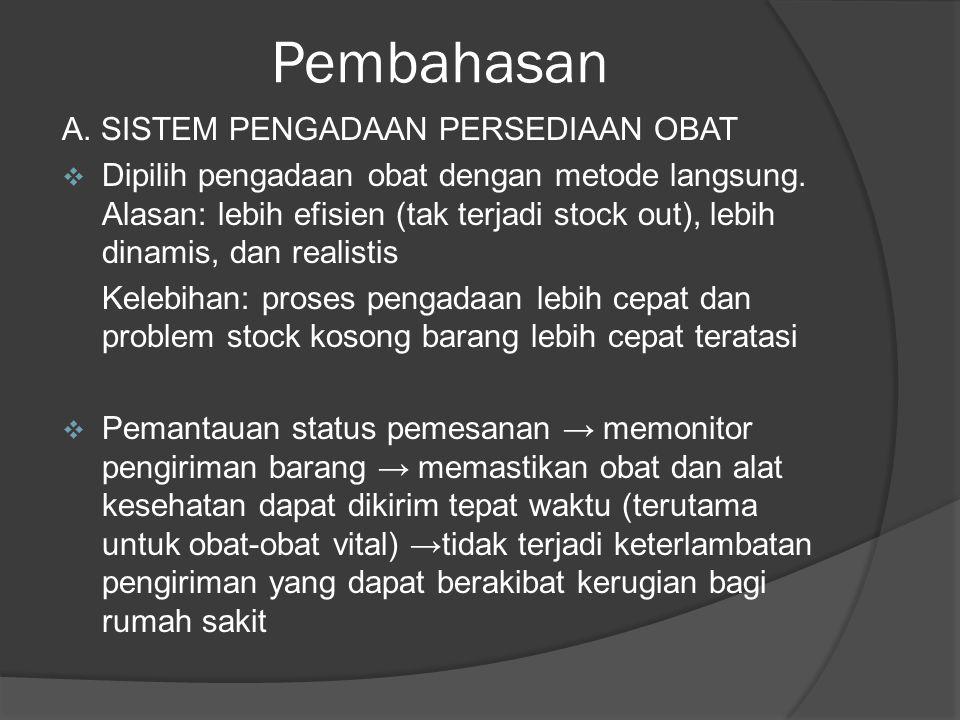Pembahasan A. SISTEM PENGADAAN PERSEDIAAN OBAT