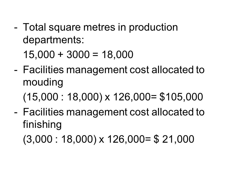 Total square metres in production departments: