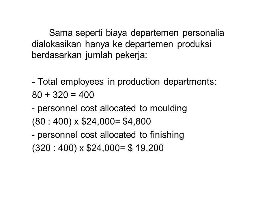 Sama seperti biaya departemen personalia dialokasikan hanya ke departemen produksi berdasarkan jumlah pekerja: