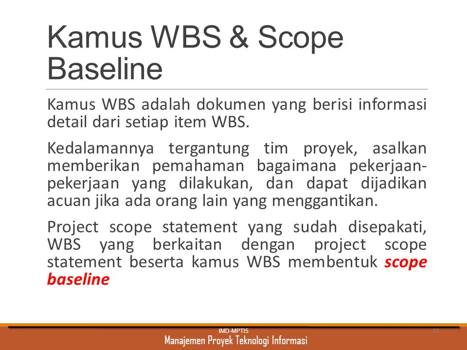 Kamus WBS & Scope Baseline