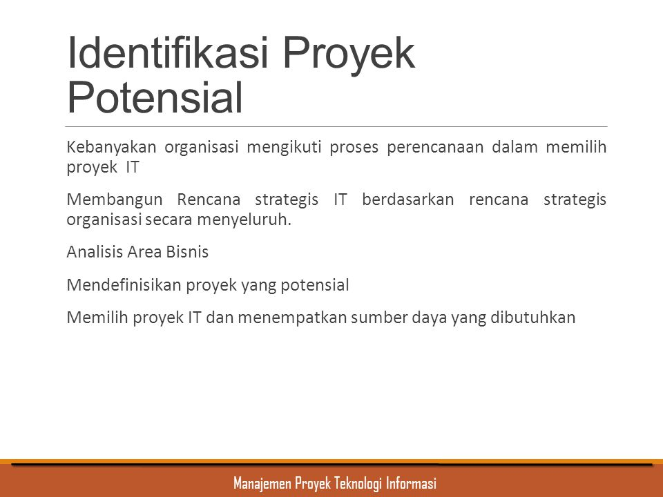 Identifikasi Proyek Potensial