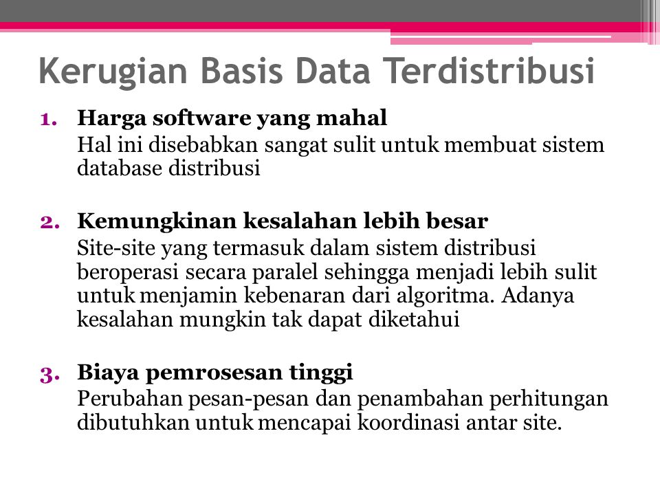 Kerugian Basis Data Terdistribusi