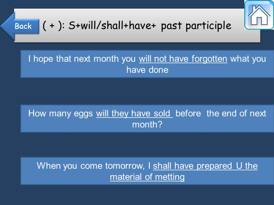 ( + ): S+will/shall+have+ past participle