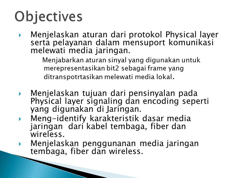 Objectives Menjelaskan aturan dari protokol Physical layer serta pelayanan dalam mensuport komunikasi melewati media jaringan.