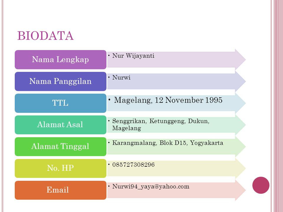 BIODATA Magelang, 12 November 1995 Nama Lengkap Nur Wijayanti