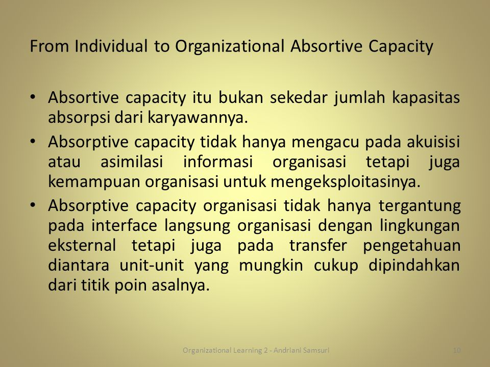 From Individual to Organizational Absortive Capacity