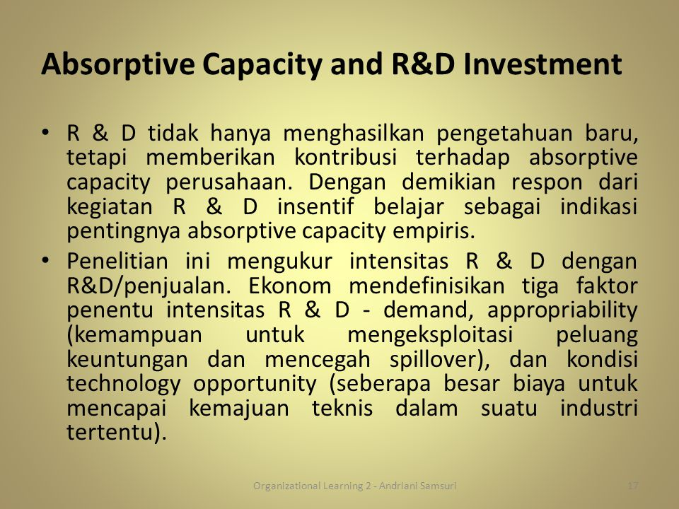 Absorptive Capacity and R&D Investment