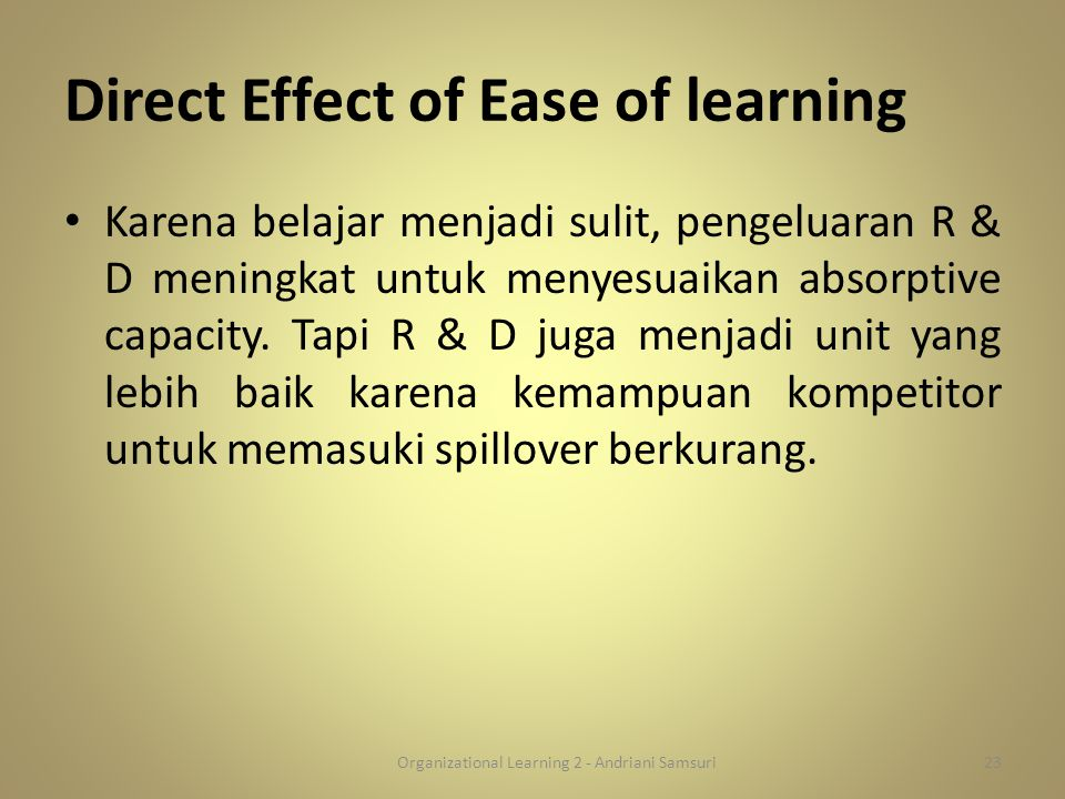 Direct Effect of Ease of learning