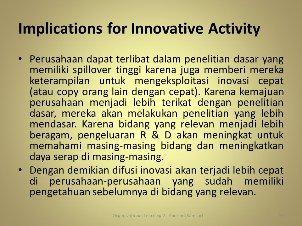 Implications for Innovative Activity