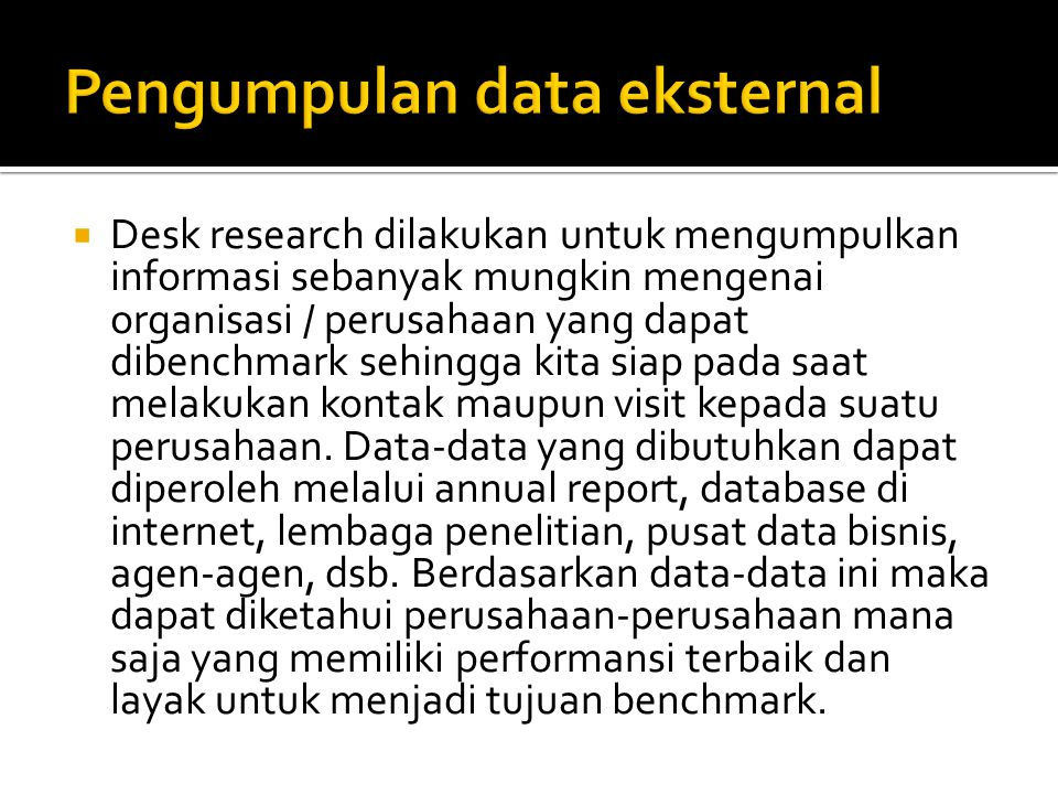 Pengumpulan data eksternal