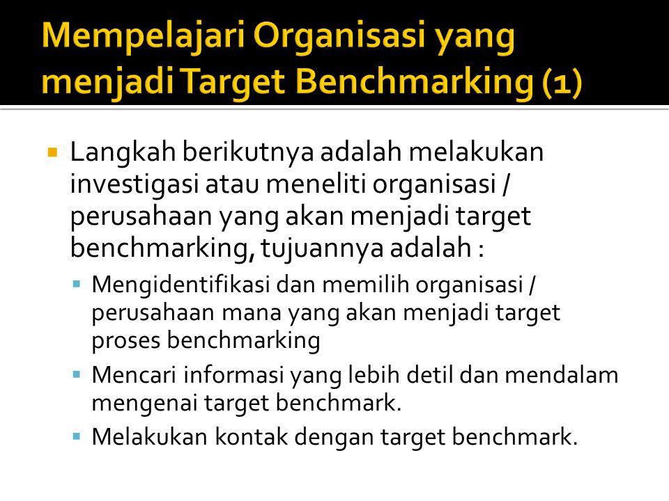 Mempelajari Organisasi yang menjadi Target Benchmarking (1)