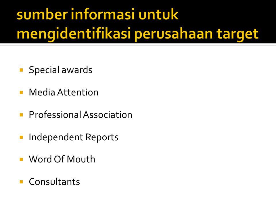 sumber informasi untuk mengidentifikasi perusahaan target