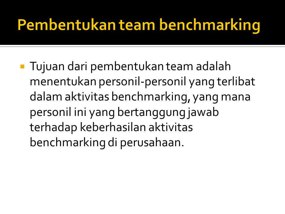Pembentukan team benchmarking