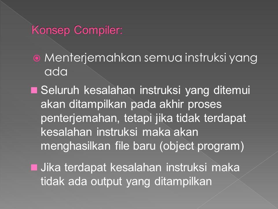 Konsep Compiler: Menterjemahkan semua instruksi yang ada.