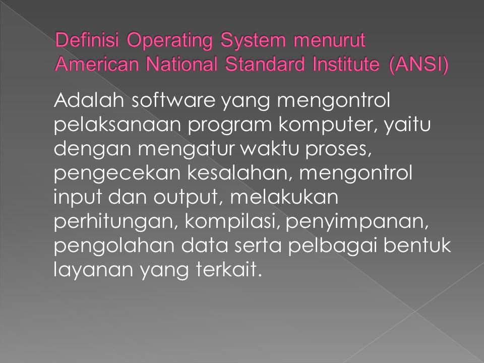 Definisi Operating System menurut American National Standard Institute (ANSI)
