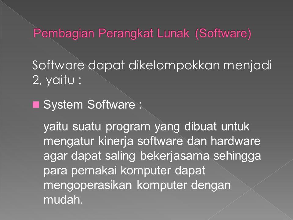 Pembagian Perangkat Lunak (Software)