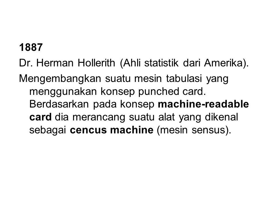 1887 Dr. Herman Hollerith (Ahli statistik dari Amerika).