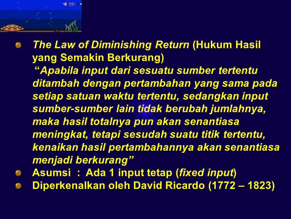 The Law of Diminishing Return (Hukum Hasil yang Semakin Berkurang)