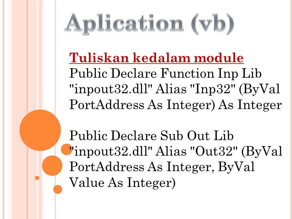 Aplication (vb) Tuliskan kedalam module