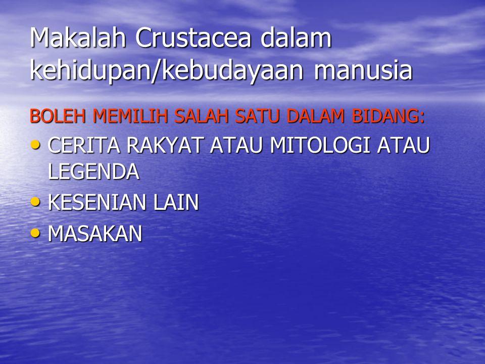 Makalah Crustacea dalam kehidupan/kebudayaan manusia