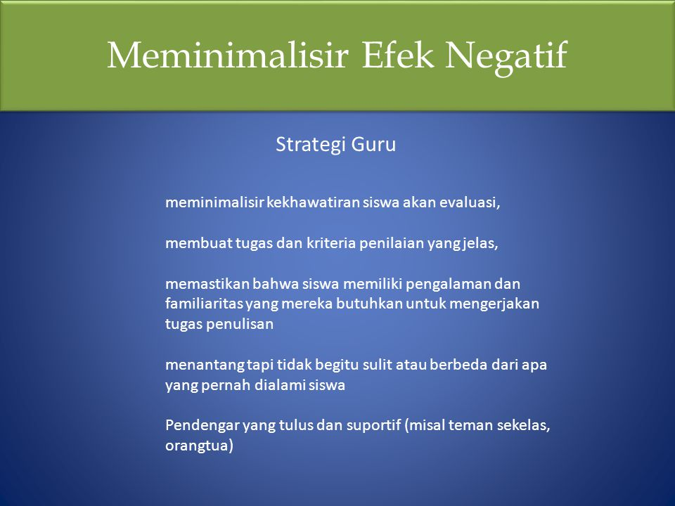 Meminimalisir Efek Negatif