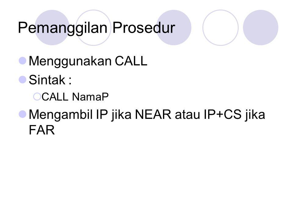 Pemanggilan Prosedur Menggunakan CALL Sintak :