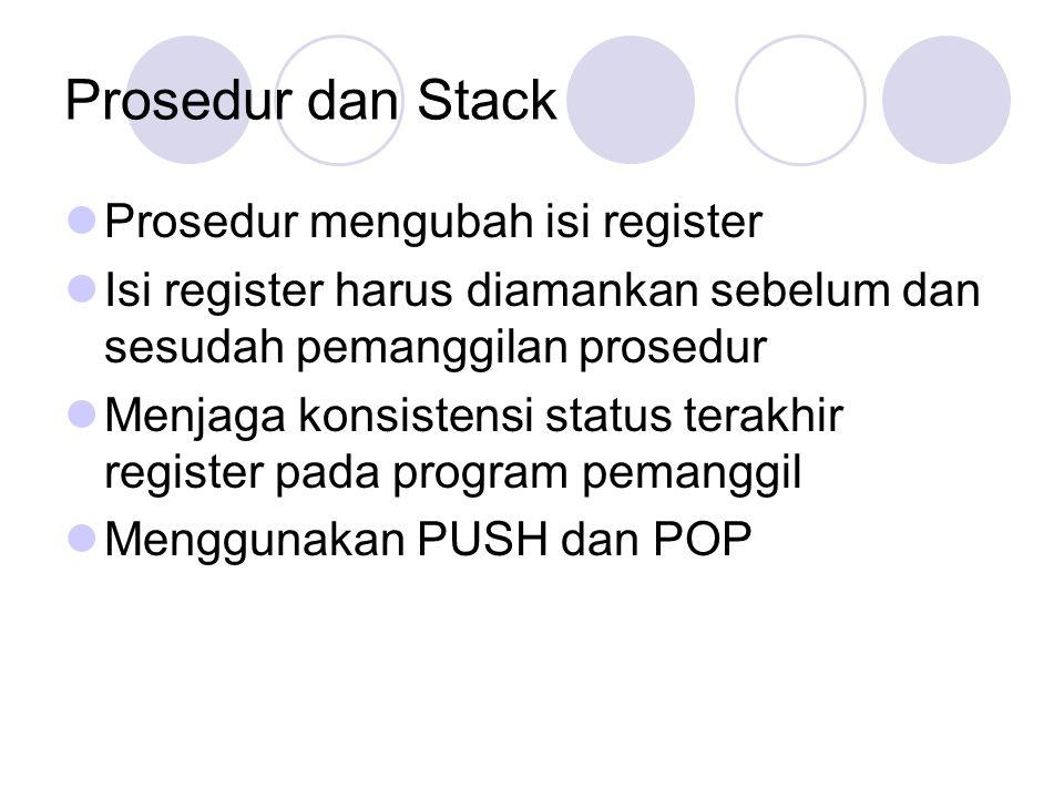 Prosedur dan Stack Prosedur mengubah isi register