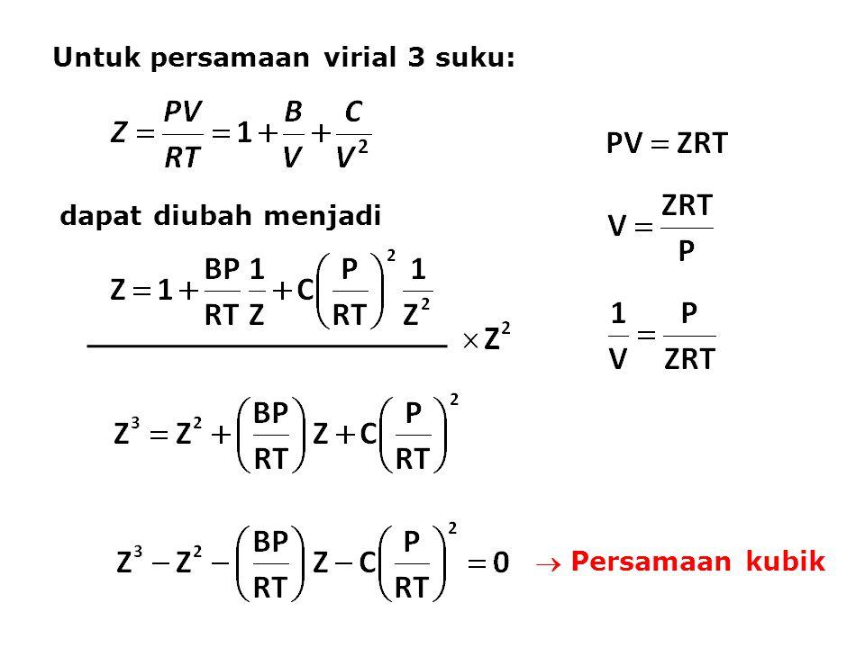 Untuk persamaan virial 3 suku: