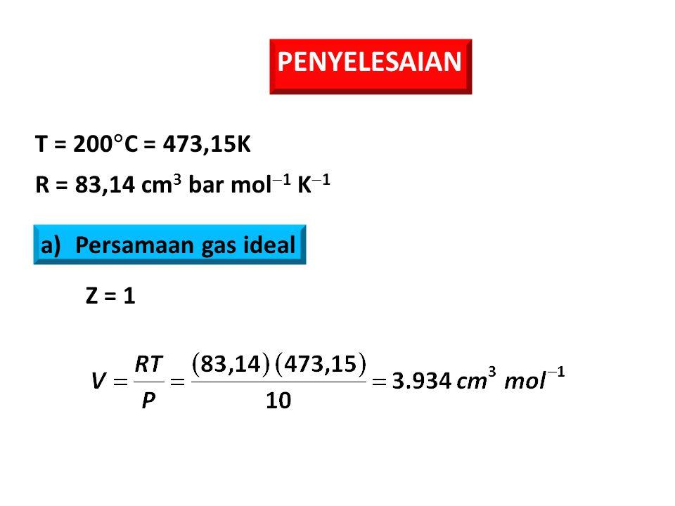 PENYELESAIAN T = 200C = 473,15K R = 83,14 cm3 bar mol1 K1