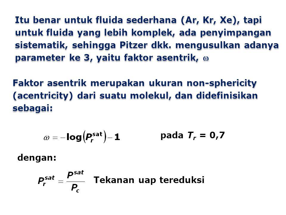 Itu benar untuk fluida sederhana (Ar, Kr, Xe), tapi untuk fluida yang lebih komplek, ada penyimpangan sistematik, sehingga Pitzer dkk. mengusulkan adanya parameter ke 3, yaitu faktor asentrik, 