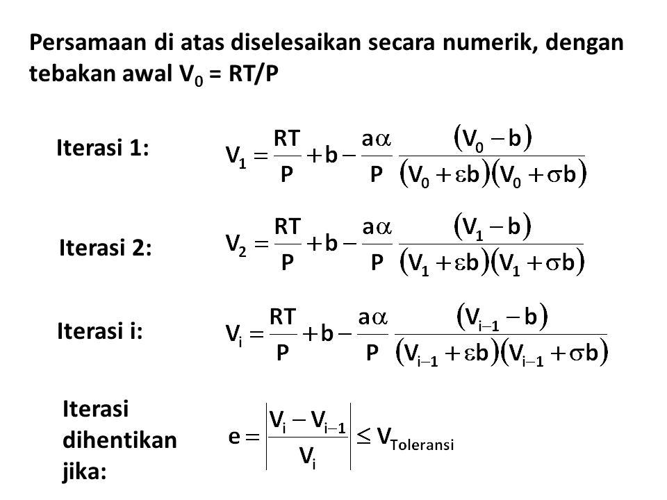 Persamaan di atas diselesaikan secara numerik, dengan tebakan awal V0 = RT/P