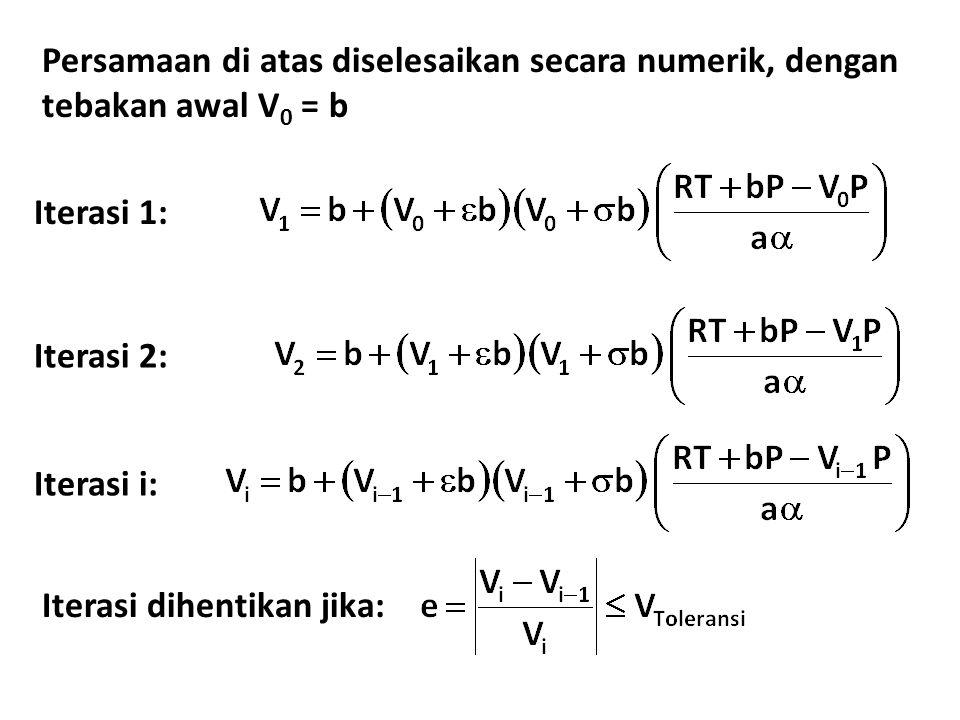 Persamaan di atas diselesaikan secara numerik, dengan tebakan awal V0 = b