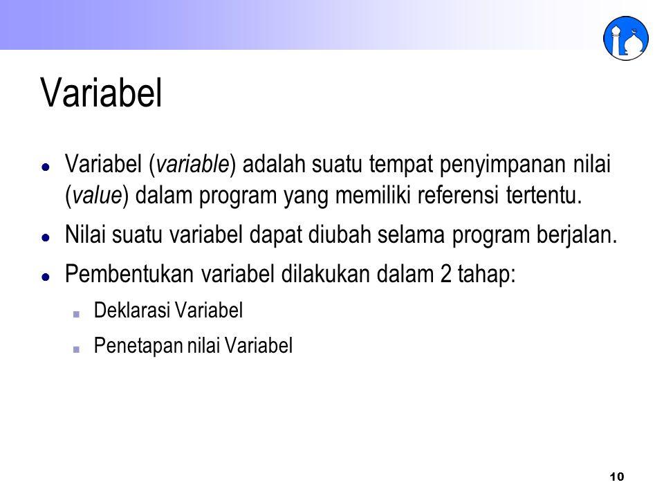 Variabel Variabel (variable) adalah suatu tempat penyimpanan nilai (value) dalam program yang memiliki referensi tertentu.