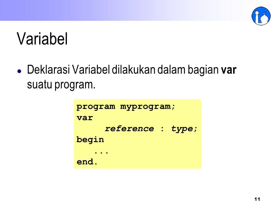 Variabel Deklarasi Variabel dilakukan dalam bagian var suatu program.